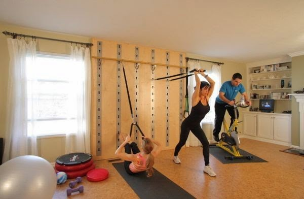 another home gym design idea is to install wall bars that are matching